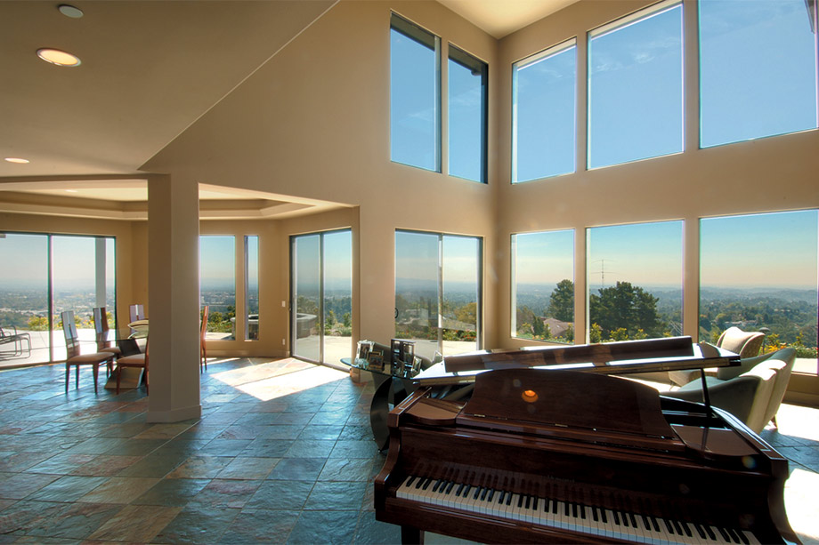 Panoramic view inside of georgeous modern luxury custom home built by Richard Smith Home Development in Pasadena, California