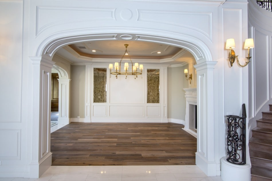 Beautiful entrance with broad stately archway built by Richard Smith Custom Home Development