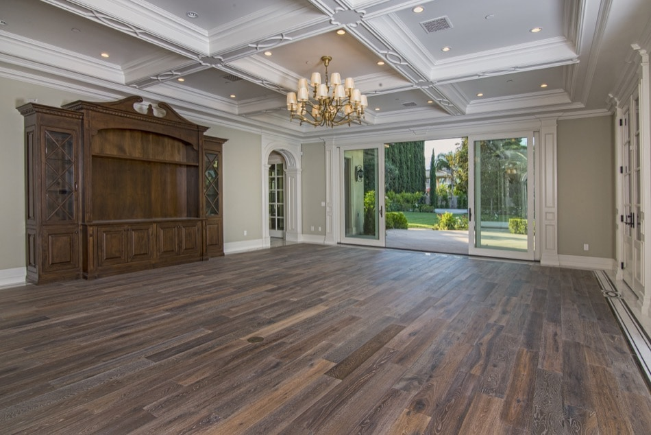 Large stately open room leading out to garden in Arcadia estate built by Richard Smith Custom Home Development