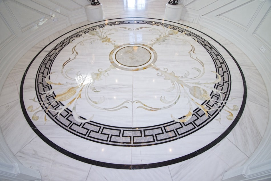 Luxurious Marble Medallion Entry in estate home built by Richard Smith Custom Home Development